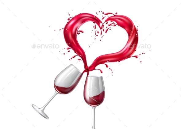 Vector Wine Glasses Toasting Heart Shape Splash - Miscellaneous Vectors