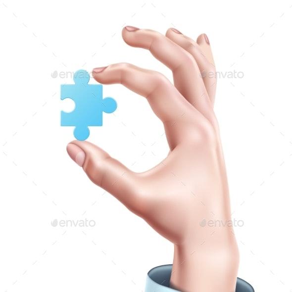 Vector Man Hand Holding Blue Puzzle Realistic - Miscellaneous Conceptual