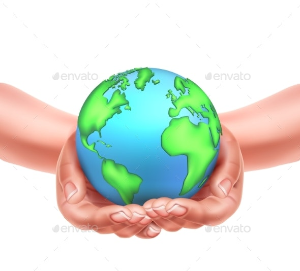 Vector Realistic Hands Holding Earth Planet Eco - Miscellaneous Conceptual
