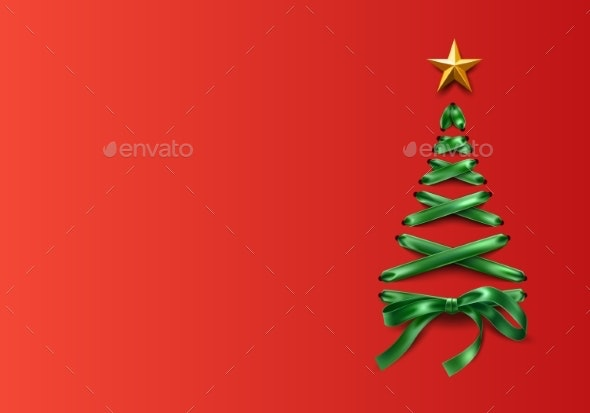 Vector Lace-up Christmas Tree Made of Laces - Christmas Seasons/Holidays