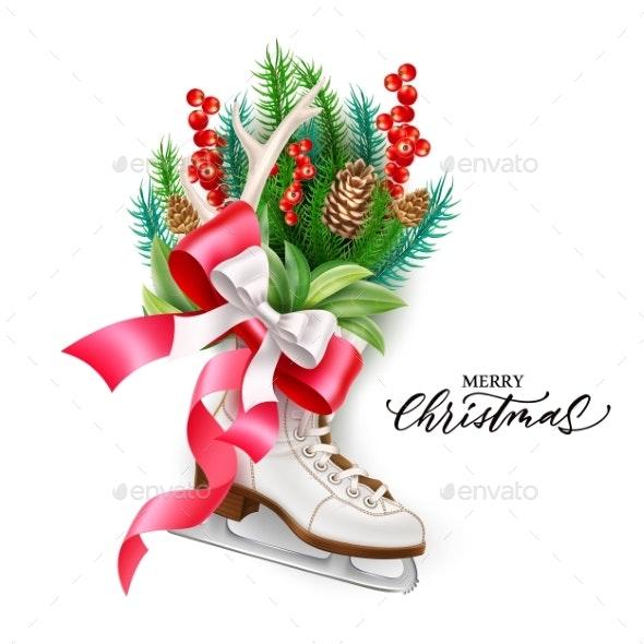 Vector Realistic Merry Christmas Spruce Tree Skate - Christmas Seasons/Holidays