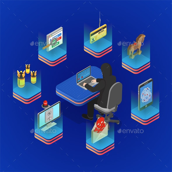 Hacker Activity Isometric Concept - Computers Technology