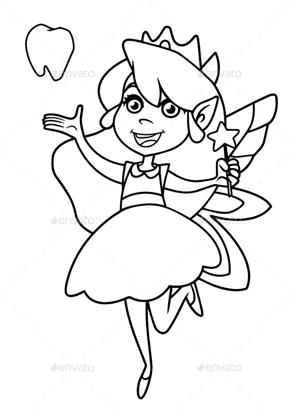 Tooth Fairy Line Art - Miscellaneous Characters