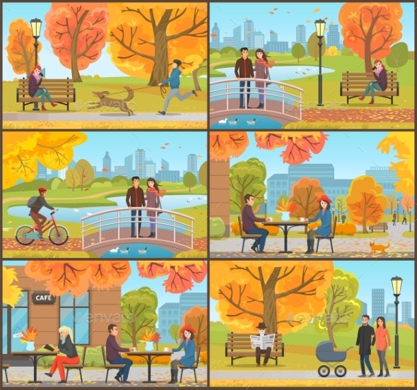 Cafe and Customers Autumn Park People Set Vector - Landscapes Nature