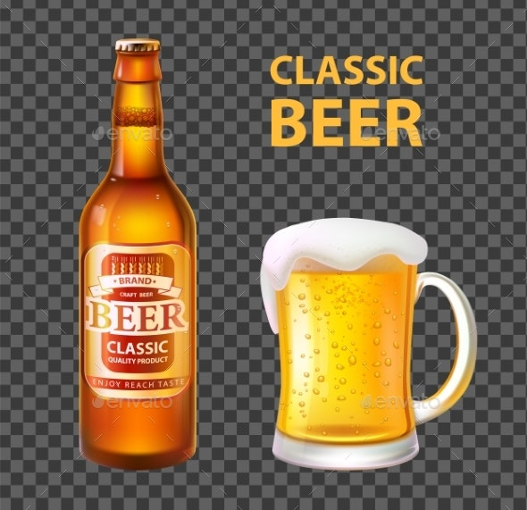 Beer in Bottle and Mug Isolated Realistic Vector - Food Objects