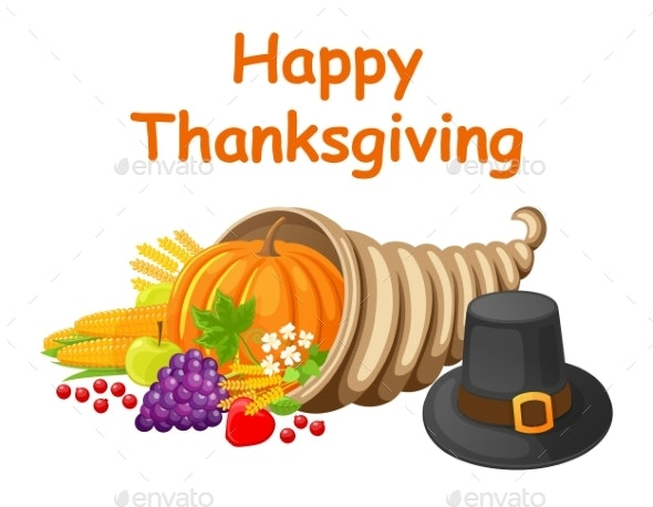Happy Thanksgiving Day Poster with Food Vector - Food Objects