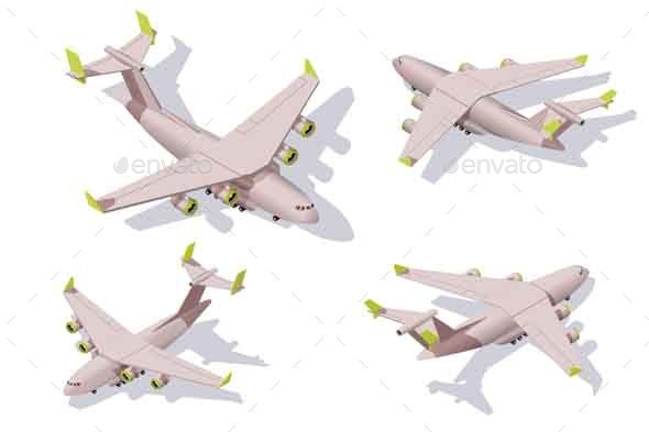 Set of Cargo Airplanes for Transportation - Man-made Objects Objects