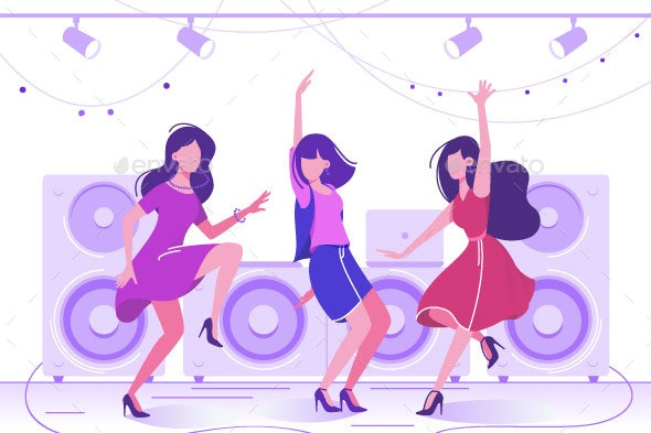 Women Dancing to Music in Club - People Characters