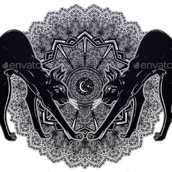 Black Cat with Arched Back Cat with Magic Mandala.