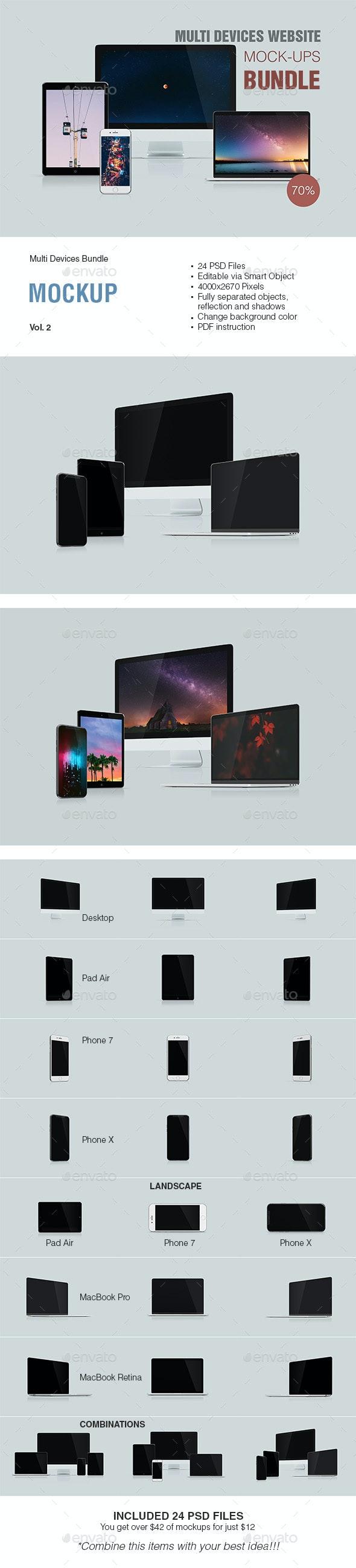 Multi Devices Responsive Website Mockup Bundle Vol. 2 - Displays Product Mock-Ups