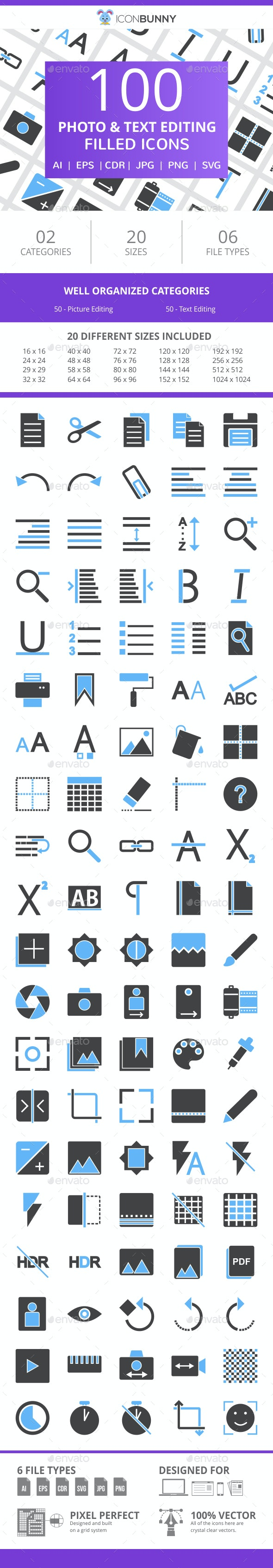 100 Photo & Text Editing Filled Blue & Black Icons - Icons