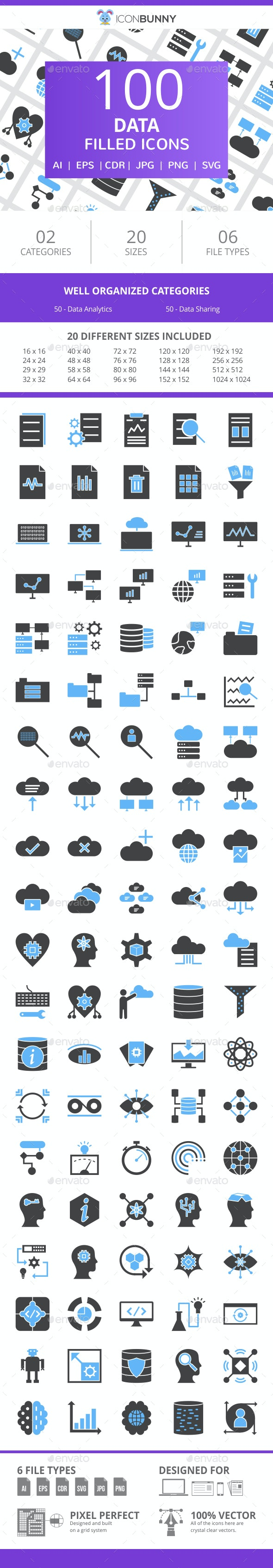 100 Data Filled Blue & Black Icons - Icons