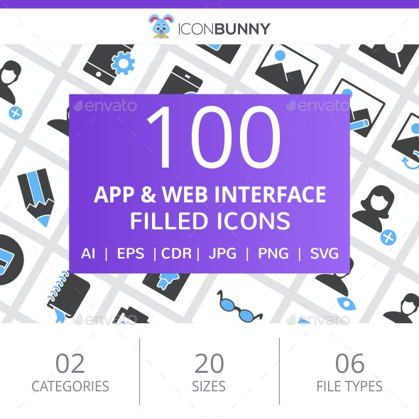 100 App & Web Interface Filled Blue & Black Icons