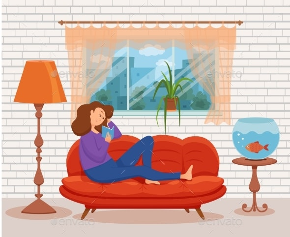 Young Woman Reading Book Sitting on the Sofa - Miscellaneous Vectors