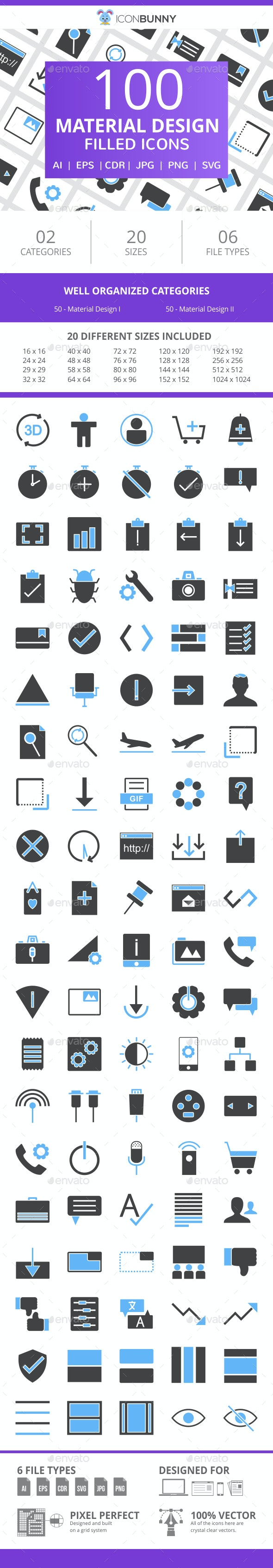 100 Material Design Filled Blue & Black Icons - Icons
