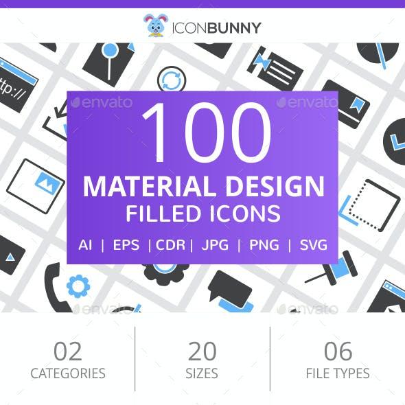 100 Material Design Filled Blue & Black Icons