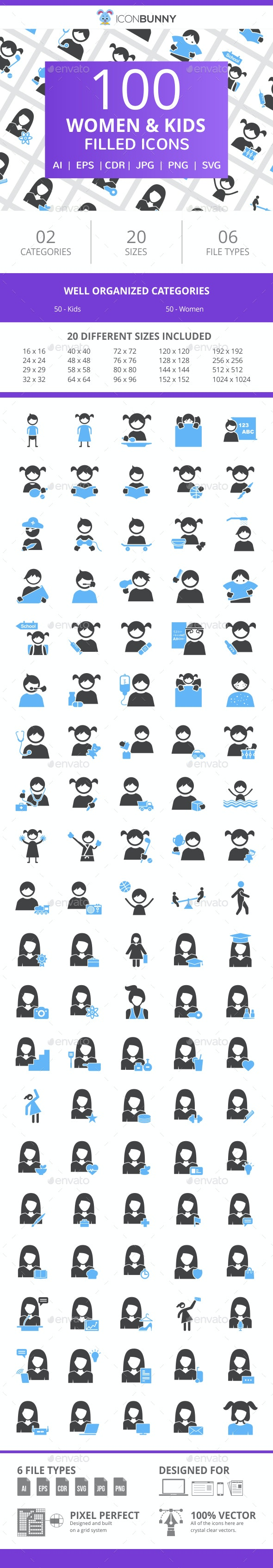 100 Women & Kids Filled Blue & Black Icons - Icons