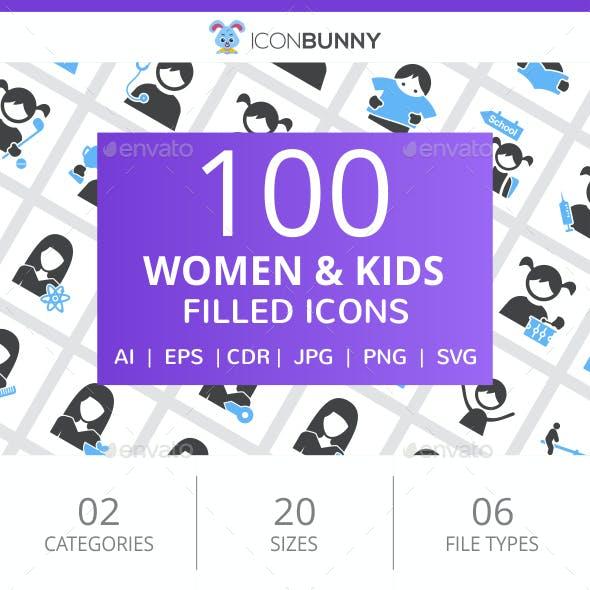 100 Women & Kids Filled Blue & Black Icons