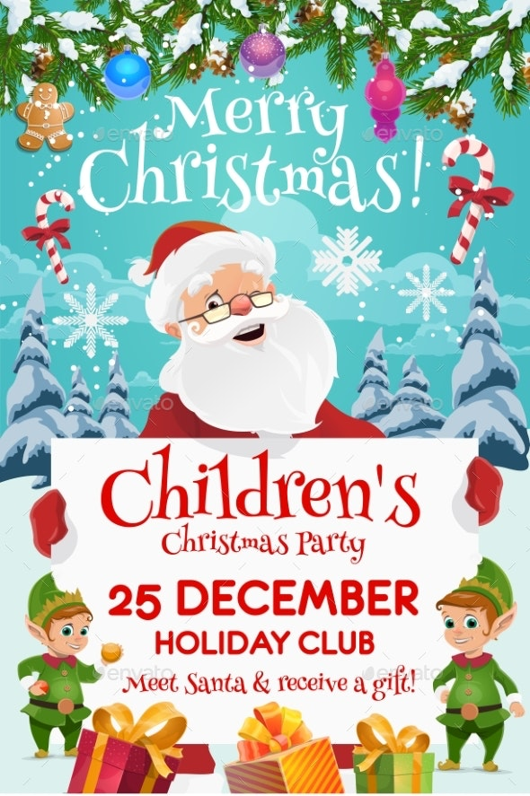 Santa with Elves and Gifts. Kids Christmas Party - Christmas Seasons/Holidays