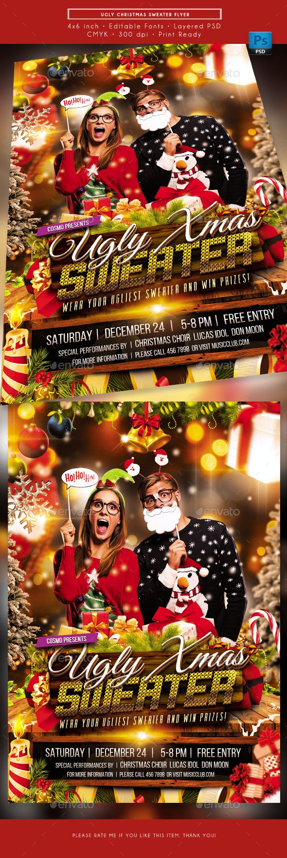 Ugly Christmas Sweater Event Flyer - Holidays Events
