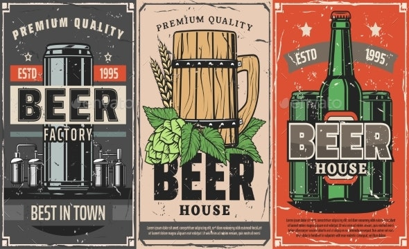 Brewery Factory, Beer Pub and Cafe Vector Poster - Food Objects