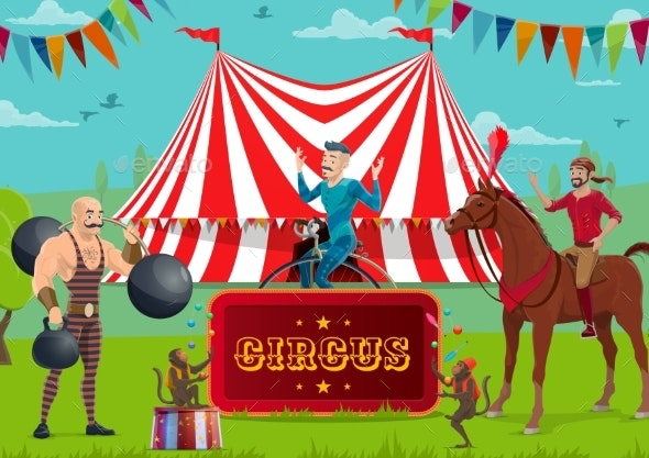 Circus Show, Performers and Trained Animals - Characters Vectors