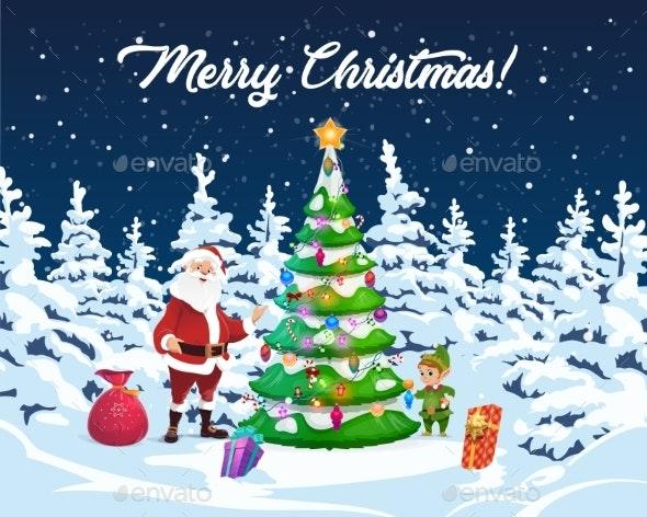Christmas Tree, Santa and Elf with Gifts - Christmas Seasons/Holidays