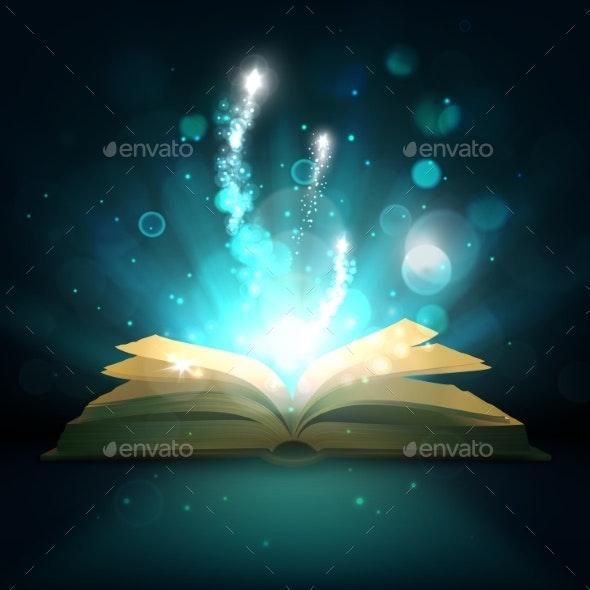Open Magic Book, Vector Light Sparkles - Objects Vectors