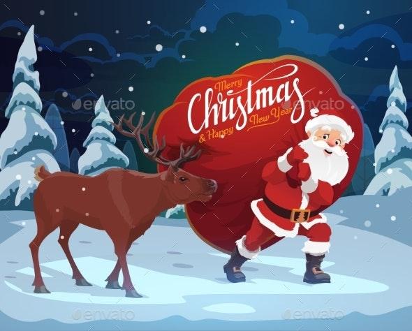 Santa Claus, Christmas Reindeer and Gift Bag - Christmas Seasons/Holidays