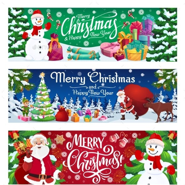 Winter Holiday, Snowman and Santa with Gifts