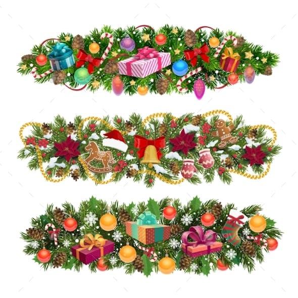 Christmas Tree Borders, Holiday Vector