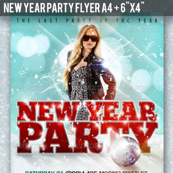 New Year Party Flyer A4 + 6x4