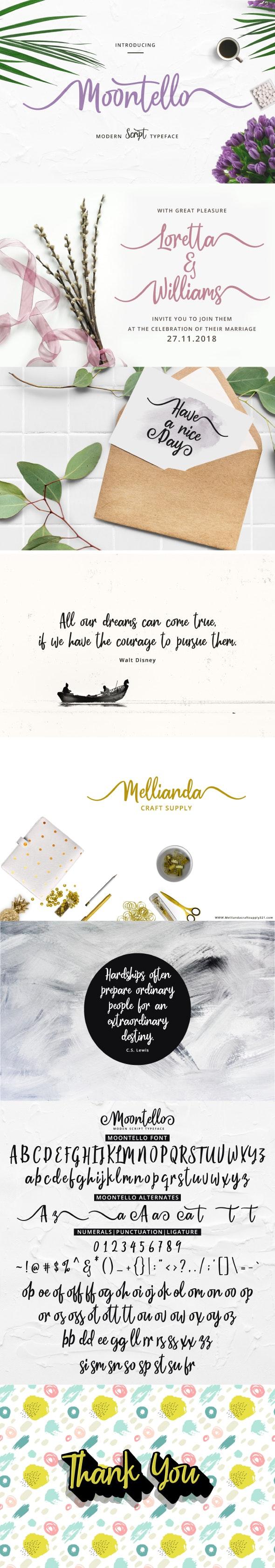 Moontello Script - Calligraphy Script