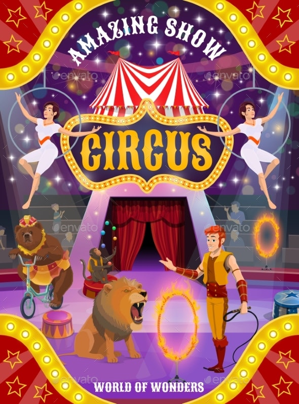 Circus Show with Animals, Trainer and Air Acrobats - Characters Vectors