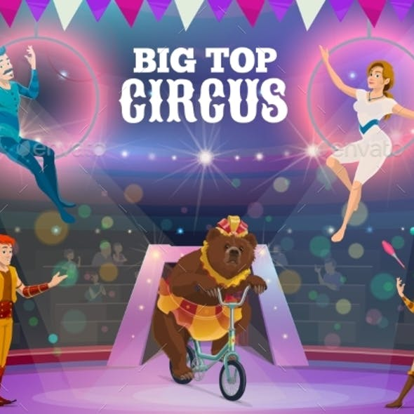 Circus Acrobats, Juggler and Animals on Arena