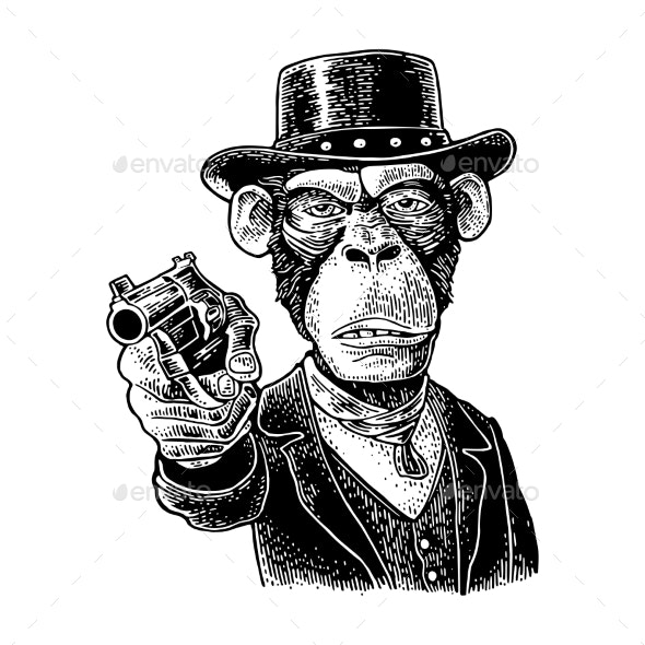 Monkey Gentleman Holding Revolver and Dressed Hat - Animals Characters