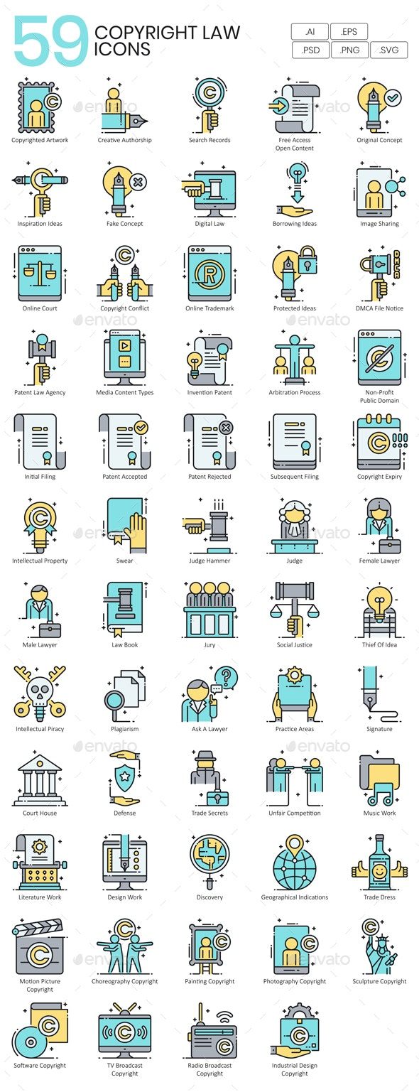 Copyright Law Icons - Business Icons