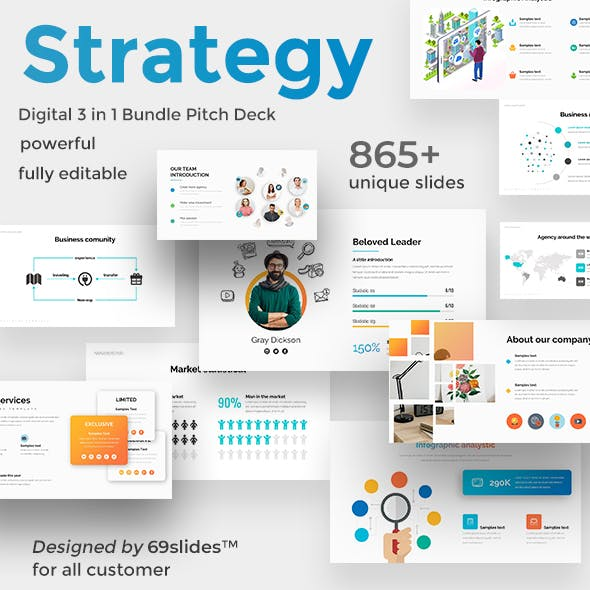 Digital Strategy 3 in 1 Pitch Deck Powerpoint Bundle Template