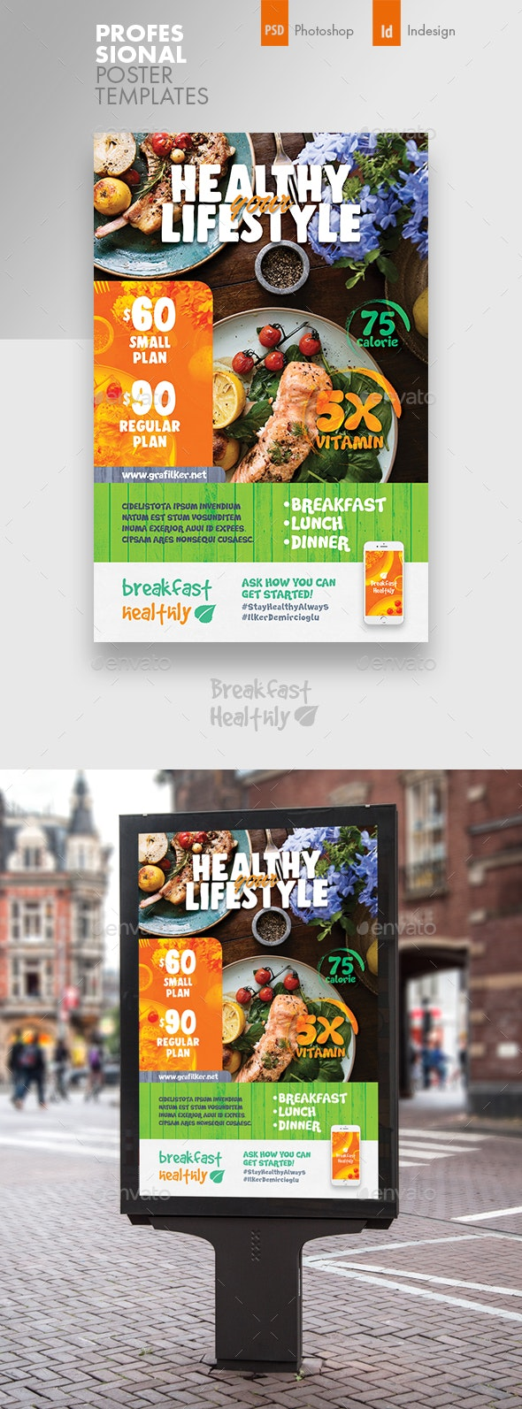 Healthy Food Poster Templates - Signage Print Templates