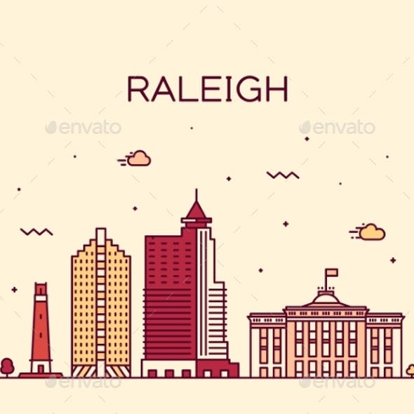 Raleigh Skyline North Carolina USA Vector Linear
