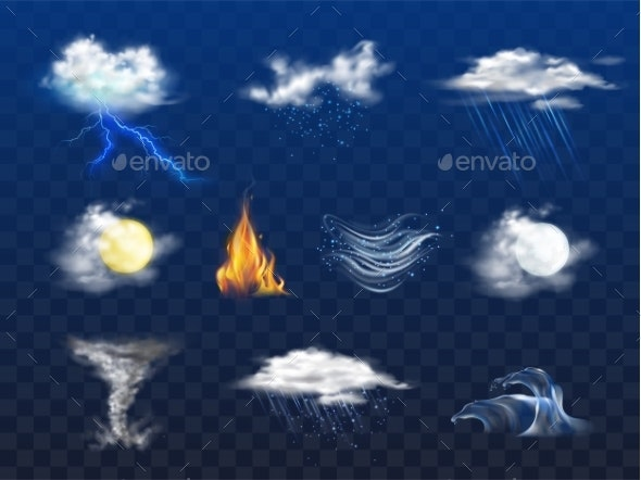 Weather Forecast 3d Realistic Icons Collection - Landscapes Nature