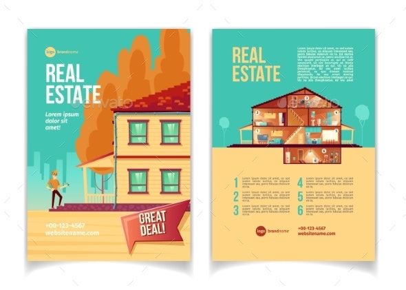 Comfortable Cottage Ad Brochure Vector Template - Business Conceptual