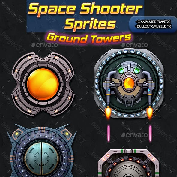 Space Shooter Sprites Ground Towers