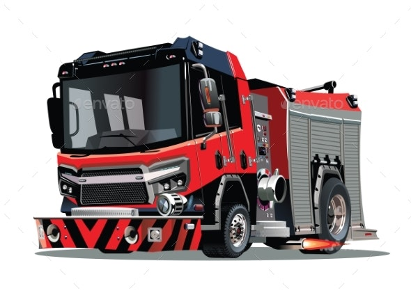 Vector Cartoon Firetruck Isolated on White - Man-made Objects Objects