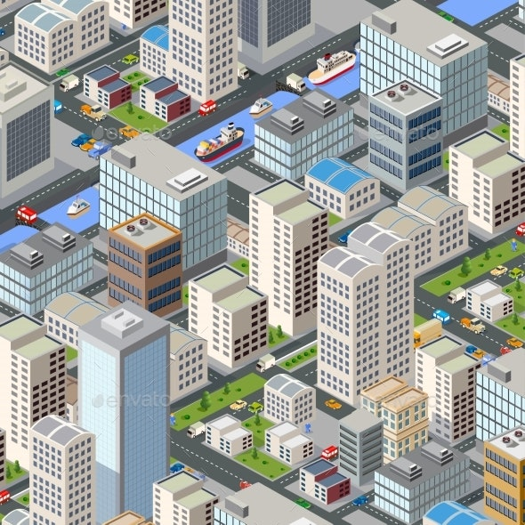 Colorful 3D Isometric City - Buildings Objects