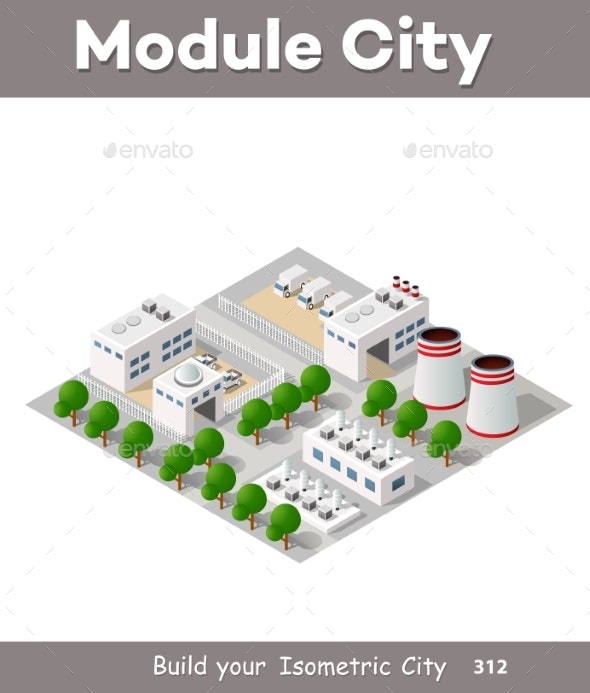 Vector Isometric Factory Building - Industries Business