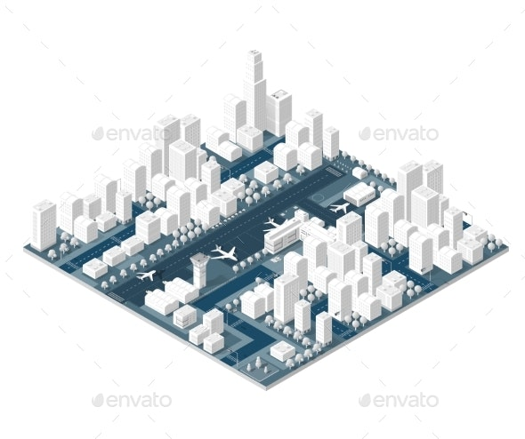 City on White Design - Buildings Objects