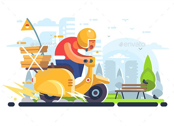 Pizza Delivery Man on Scooter Flat Poster - Miscellaneous Vectors