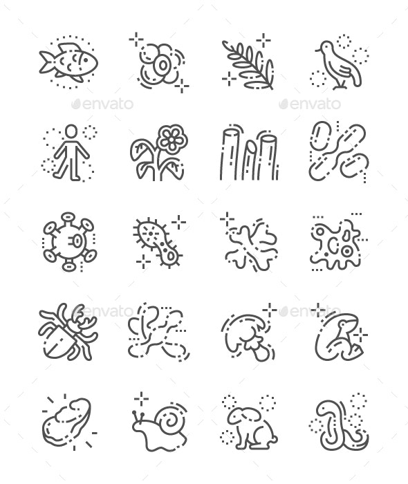 Organisms Line Icons - Animals Characters