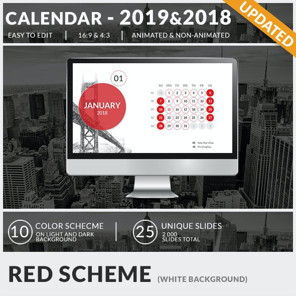 Calendar 2019 and 2018 PowerPoint Presentation Template